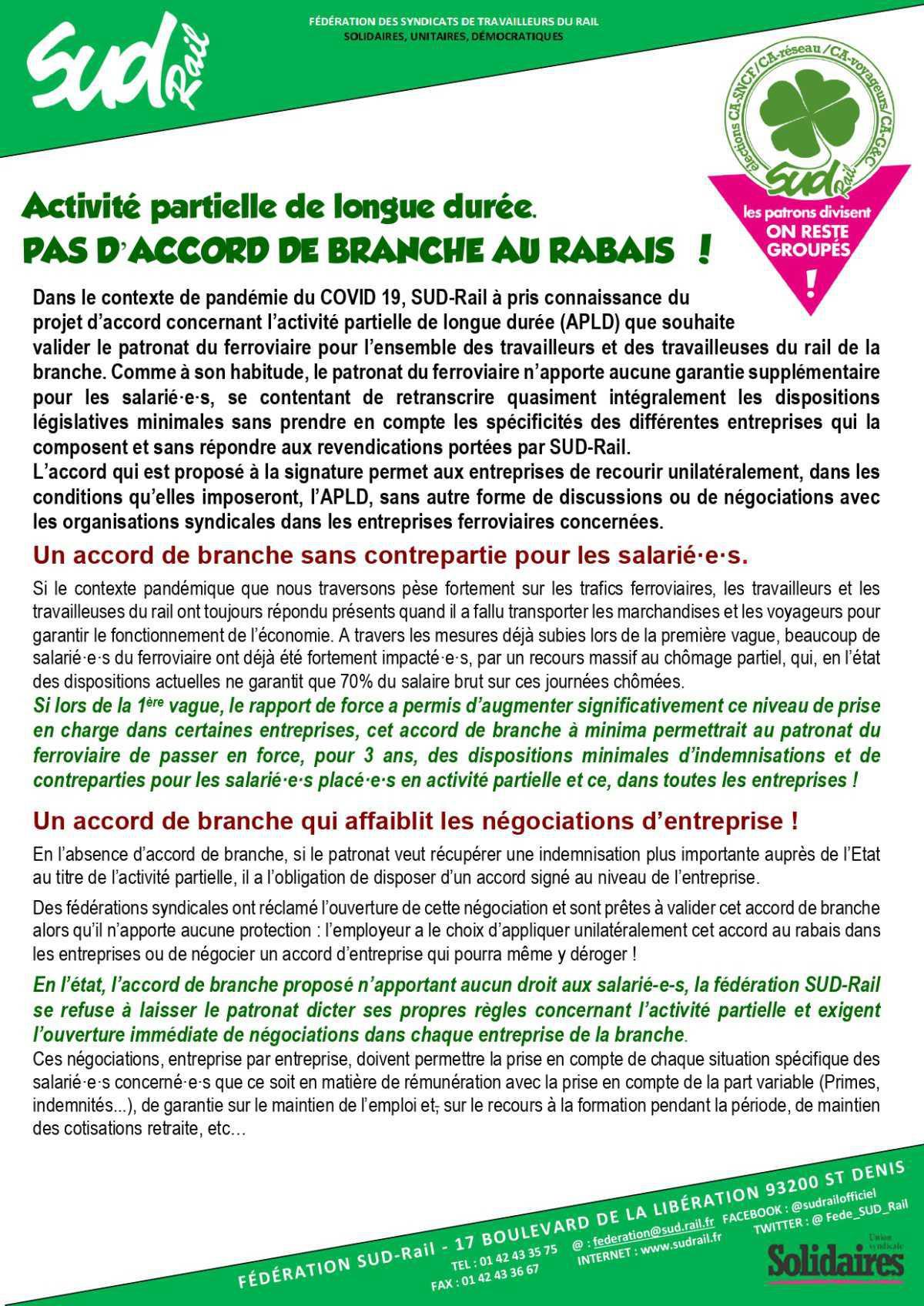 """Activité partielle de longue durée : """" PAS D'ACCORD DE BRANCHE AU RABAIS !"""""""