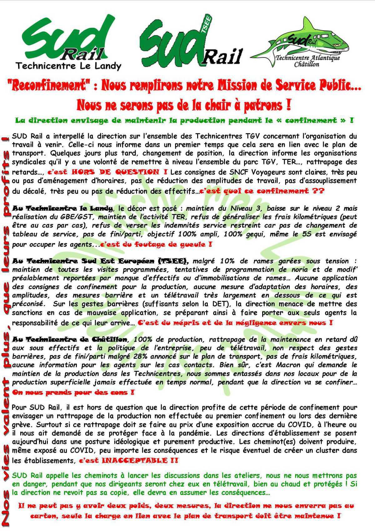 Technicentres TGV : Nous remplirons notre Mission de Service Public...Nous ne serons pas de la chair à patrons !