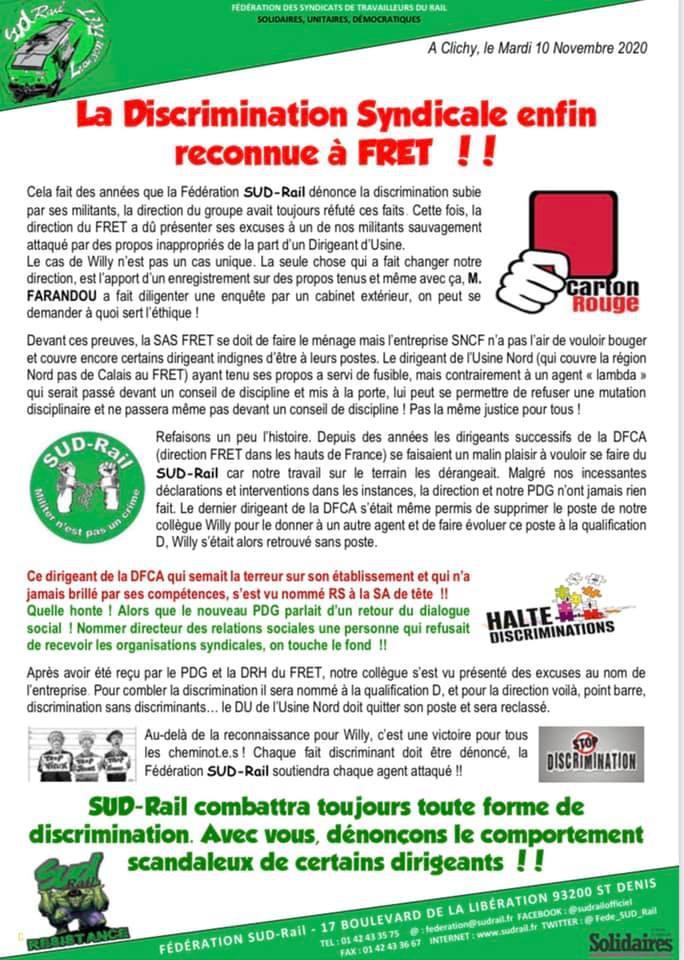 La discrimination syndicale enfin reconnue à FRET