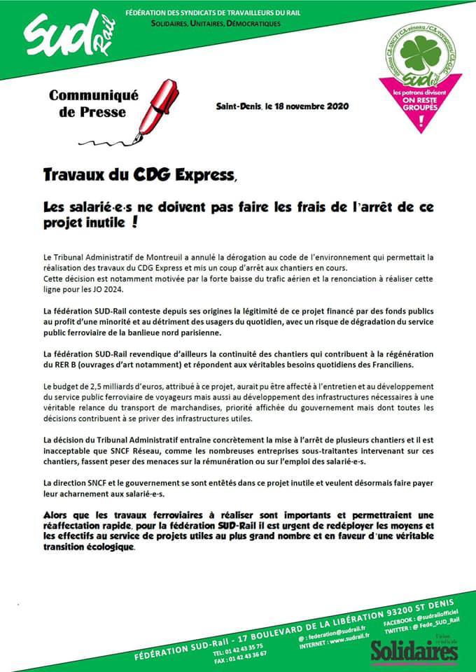 Travaux CDG Express, les salarié(es) ne doivent pas faire les frais de l'arrêt de ce projet inutile !