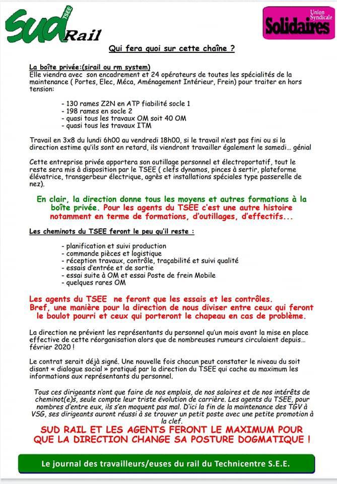 Les directions de SNCF et du TSEE invitent une boîte du privé à venir faire le boulot des cheminots !
