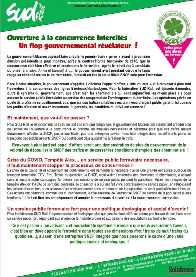 Ouverture à la concurrence Intercités : Un flop gouvernemental révélateur !