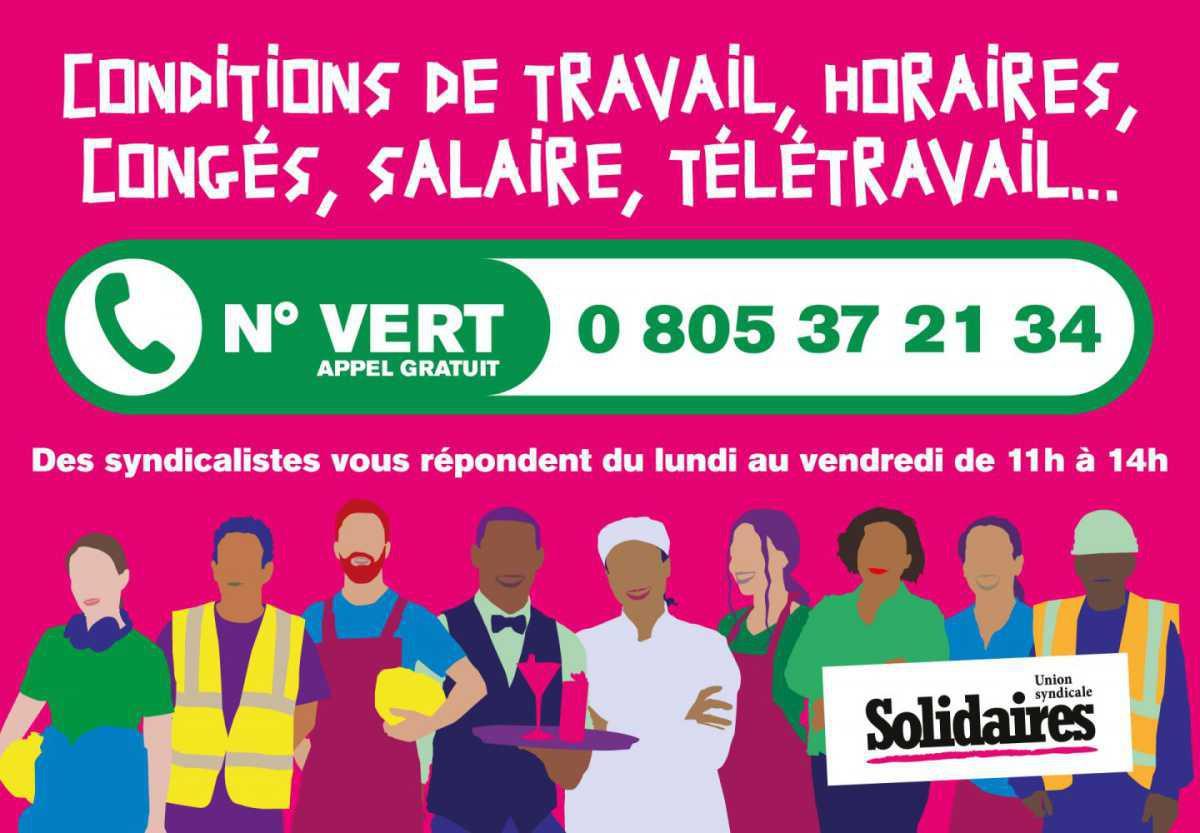 Reprise du Numéro Vert d'appui syndical de Solidaires !