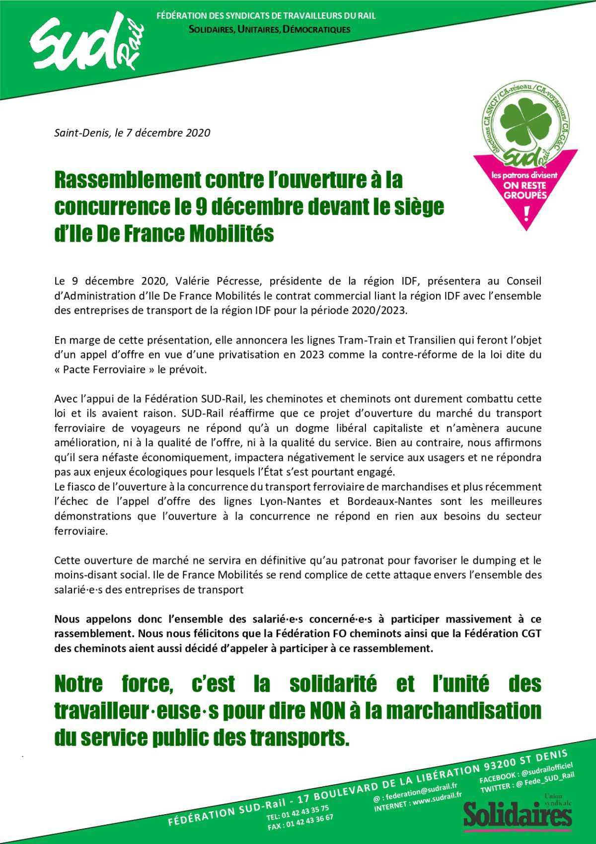 Rassemblement contre l'ouverture à la concurrence le 9 décembre devant le siège d'Ile de France Mobilités