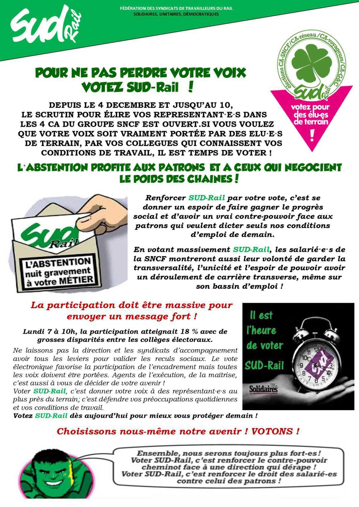 Pour ne pas perdre votre voix, VOTEZ SUD-Rail !