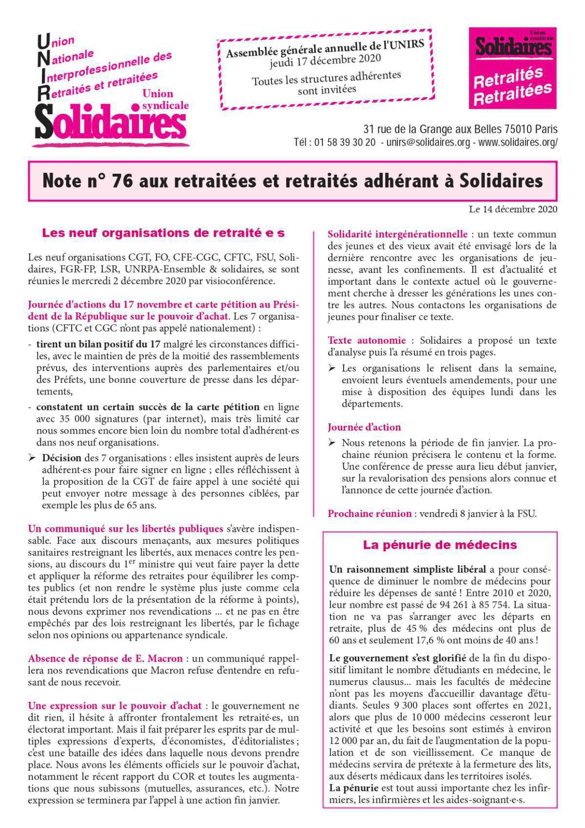 Note n° 76 aux retraitées et retraités adhérant à Solidaires
