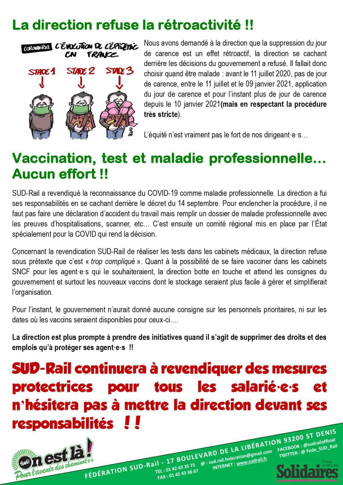 Jour de Carence à la SNCF...Une avancée sous la contrainte !!