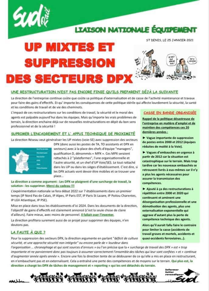 UP Mixtes et Suppression des secteurs DPX