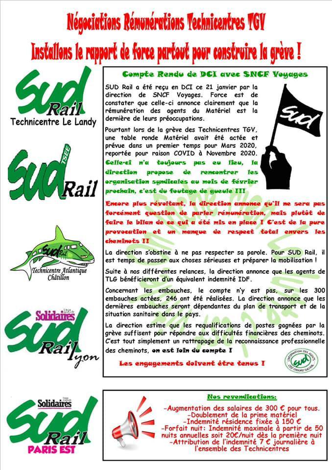 Négociations Rémunérations Technicentre TGV