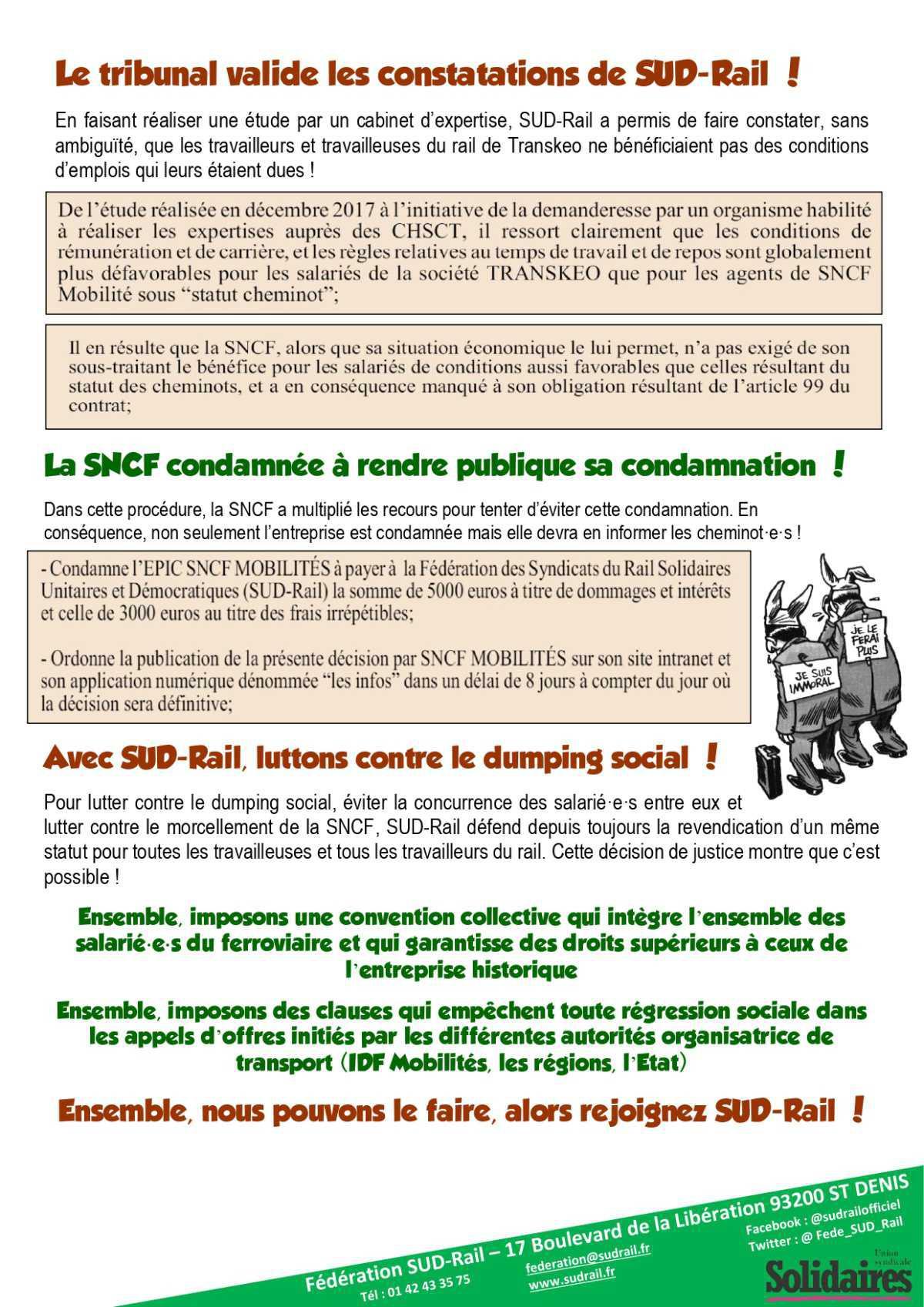 SUD Rail fait condamner la SNCF !