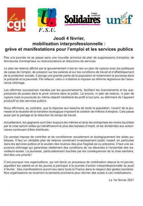 Jeudi 4 février, mobilisation interprofessionnelle : grève et manifestations pour l'emploi et les services publics