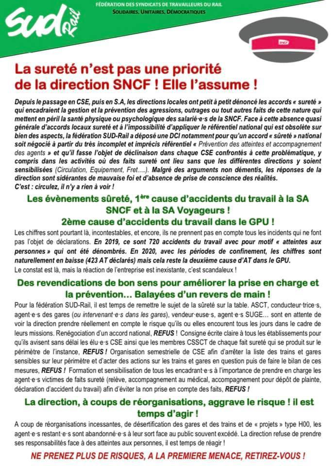 La sureté n'est pas une priorité de la direction SNCF et elle l'assume !