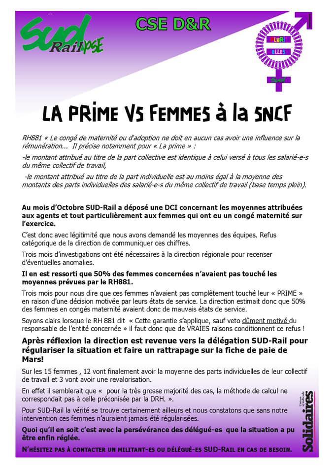 La Prime VS Femmes à la SNCF