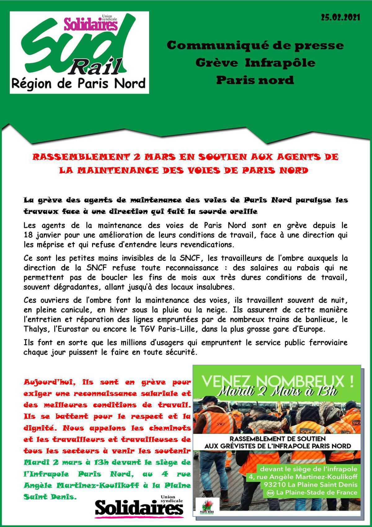 Grève des agents de maintenance des voies de Paris Nord