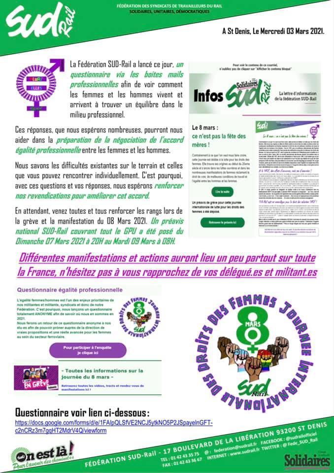 Questionnaire fédéral sur le thème du droit des femmes et de l'égalité professionnelle Femmes/Hommes