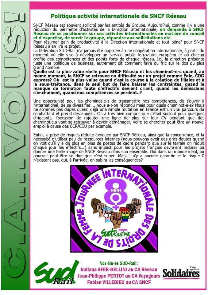 Bulletin des élus SUD Rail aux Conseils d'Administration