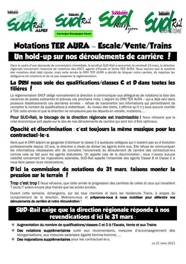 Notations TER AURA - Escale / Vente / Trains