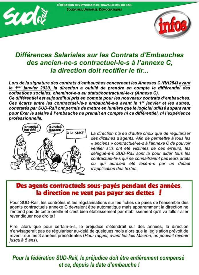 Différences Salariales sur les contrats d'embauche des contractuels Annexes C