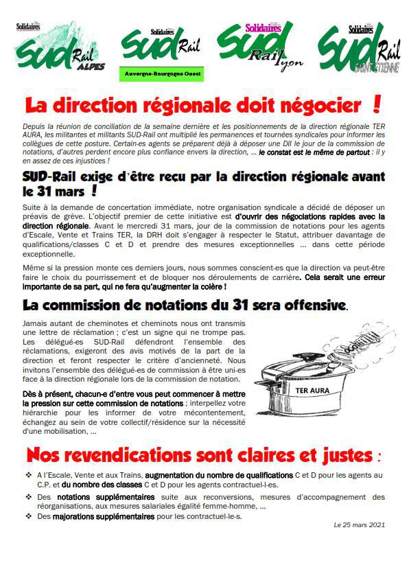 La direction régionale doit négocier !