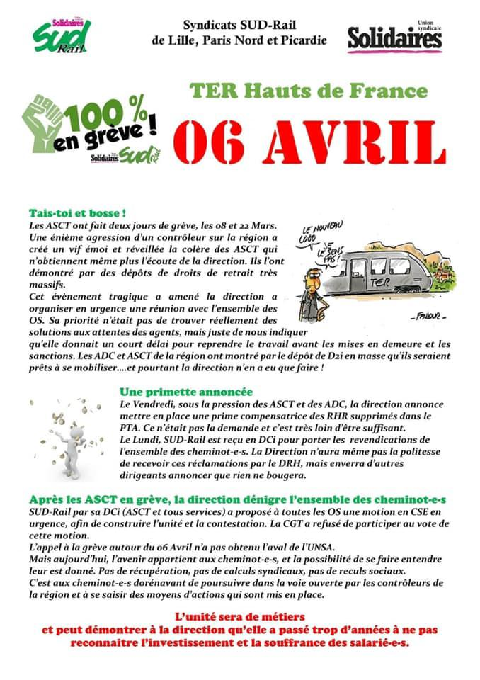 ASCT Hauts de France, toutes et tous en grève dès le 6 Avril