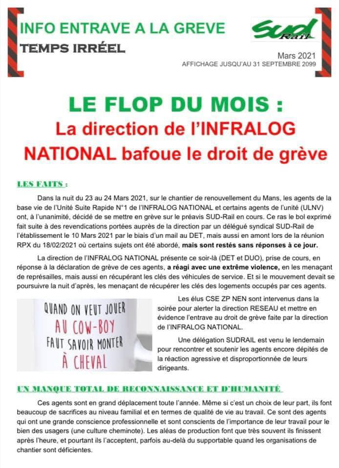La direction de l'Infralog National bafoue le droit de grève