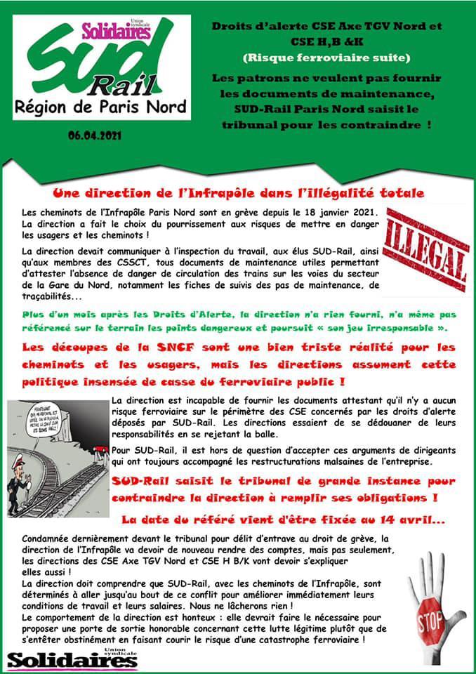 SUD-Rail saisit de nouveau le tribunal pour contraindre la SNCF à respecter ses obligations de sécurité