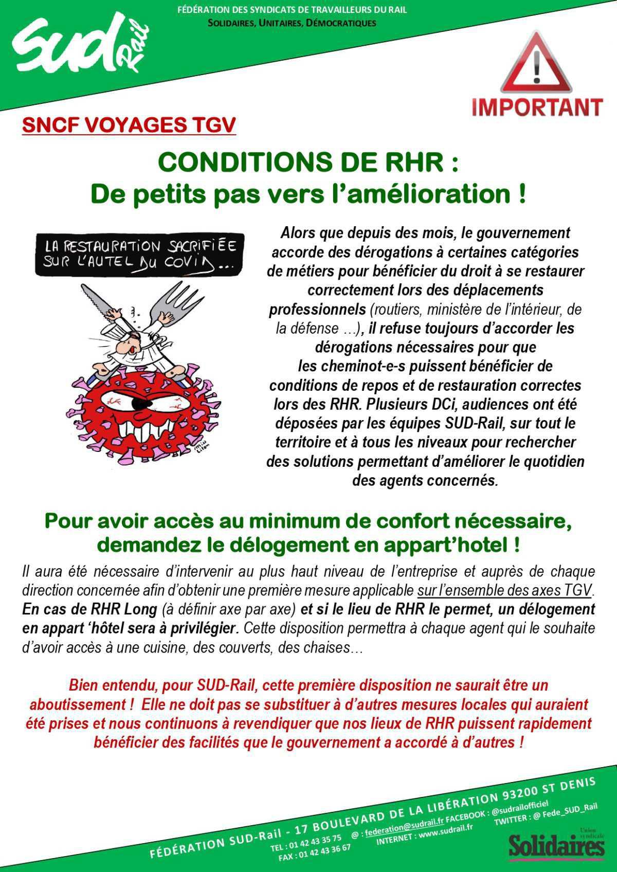 Conditions de RHR : De petits pas vers l'amélioration !