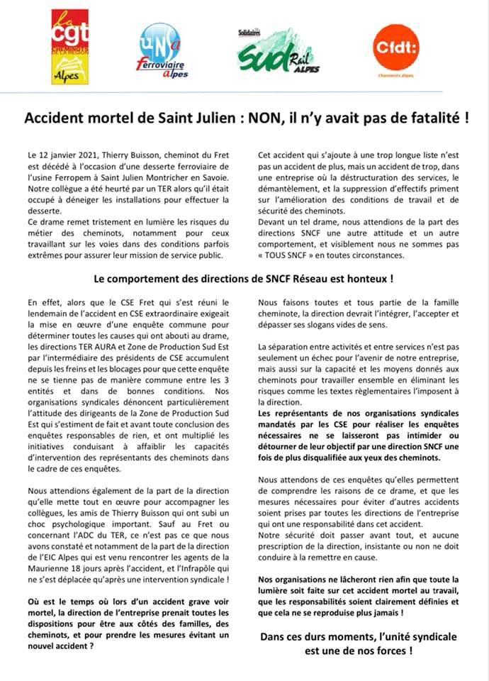 Accident mortel de Saint Julien : NON, il n'y avait pas de fatalité !