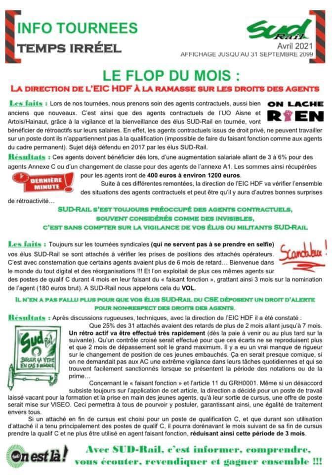 La direction de l'EIC HDF à la ramasse sur les droits des agents !
