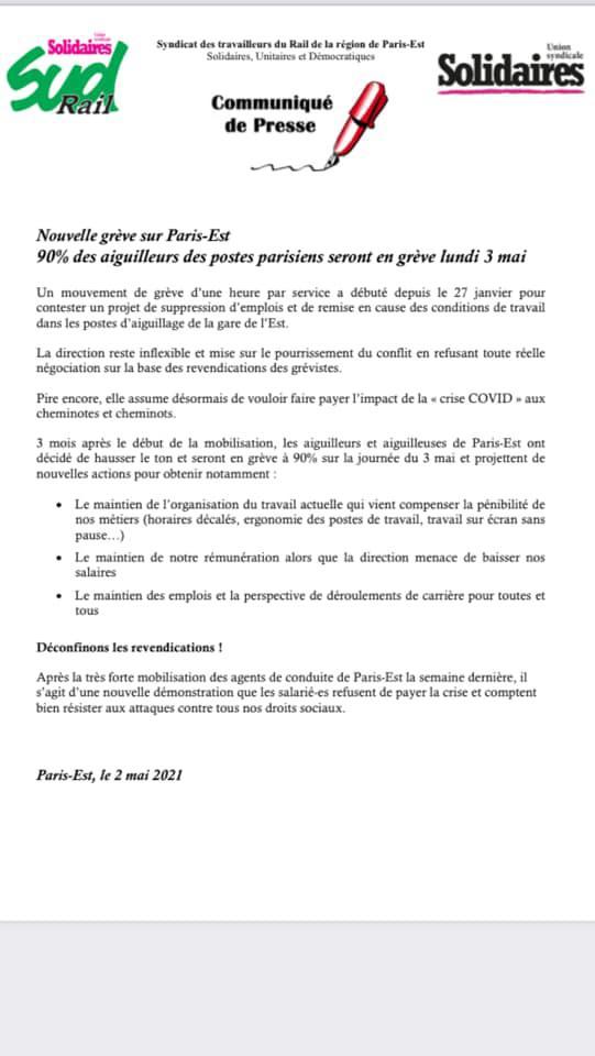 Grève des aiguilleurs sur Paris Est
