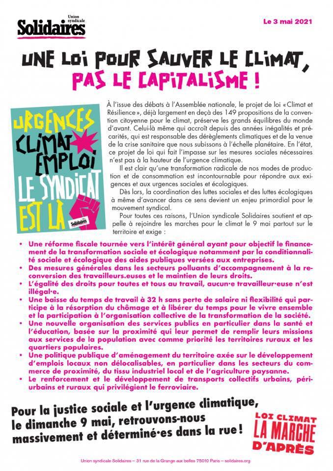 Une loi pour sauver le climat, pas le capitalisme !