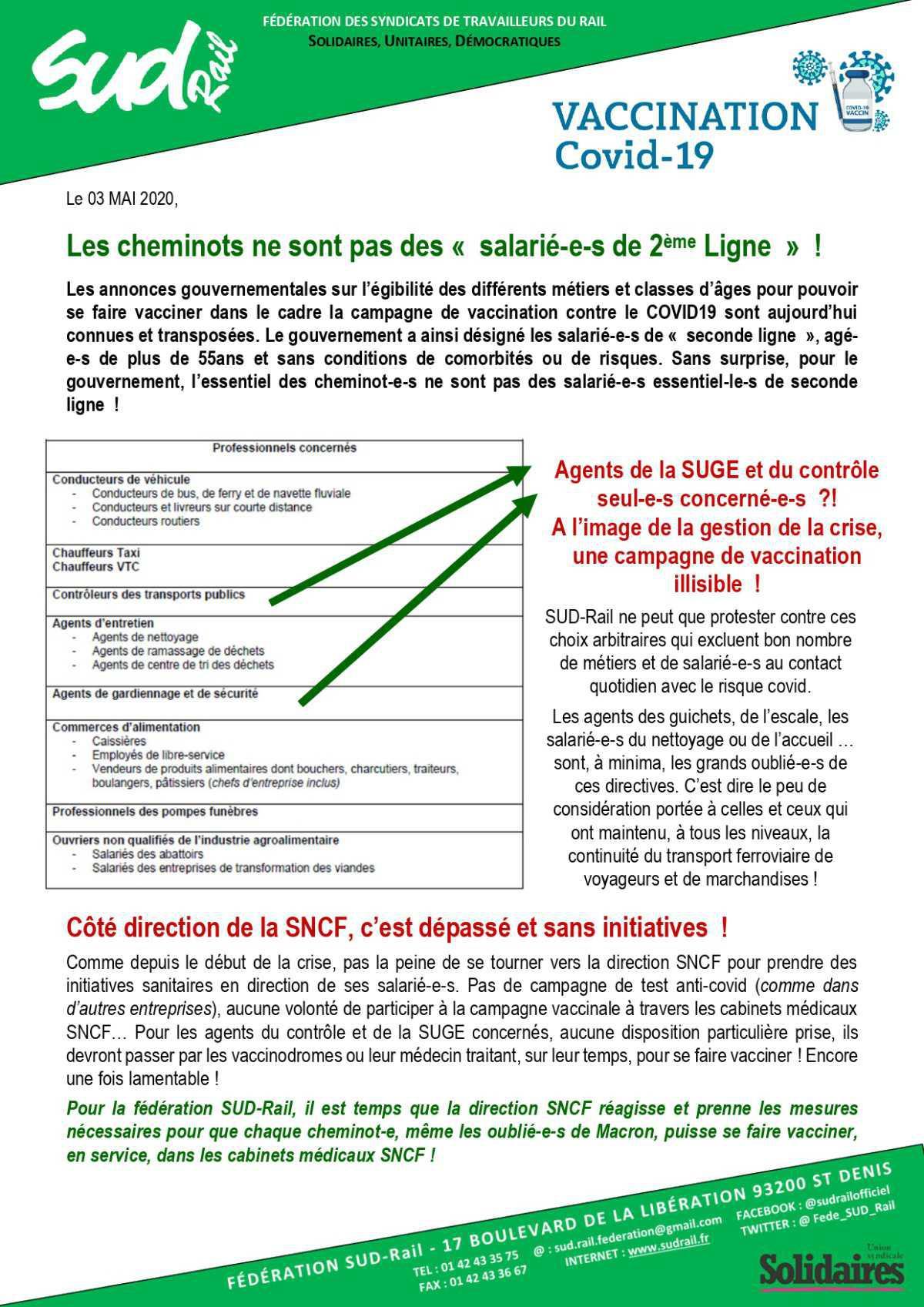 """Les cheminots ne sont pas des """" salarié-e-s de 2ème Ligne """" !"""