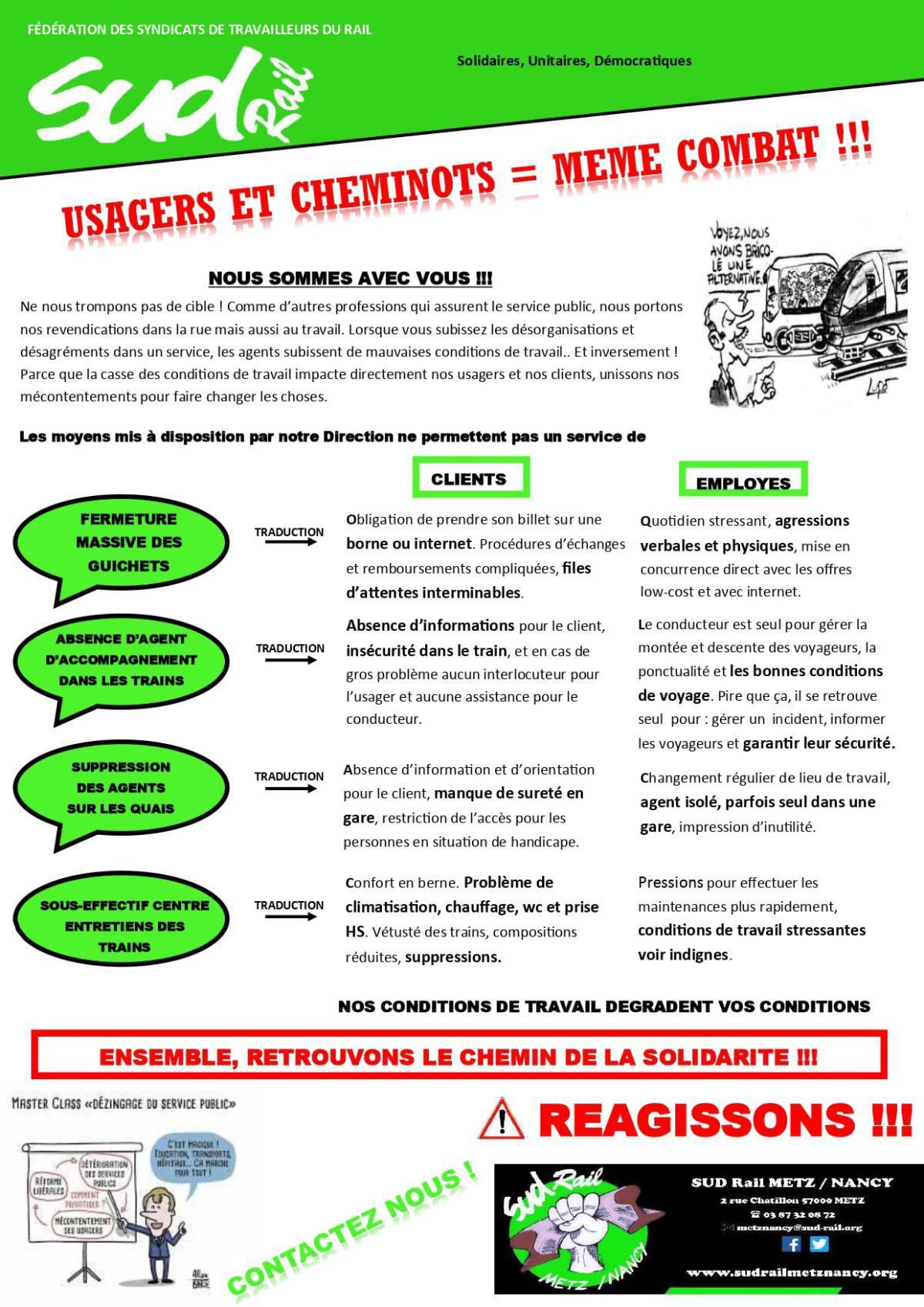 Usagers et cheminots même combat