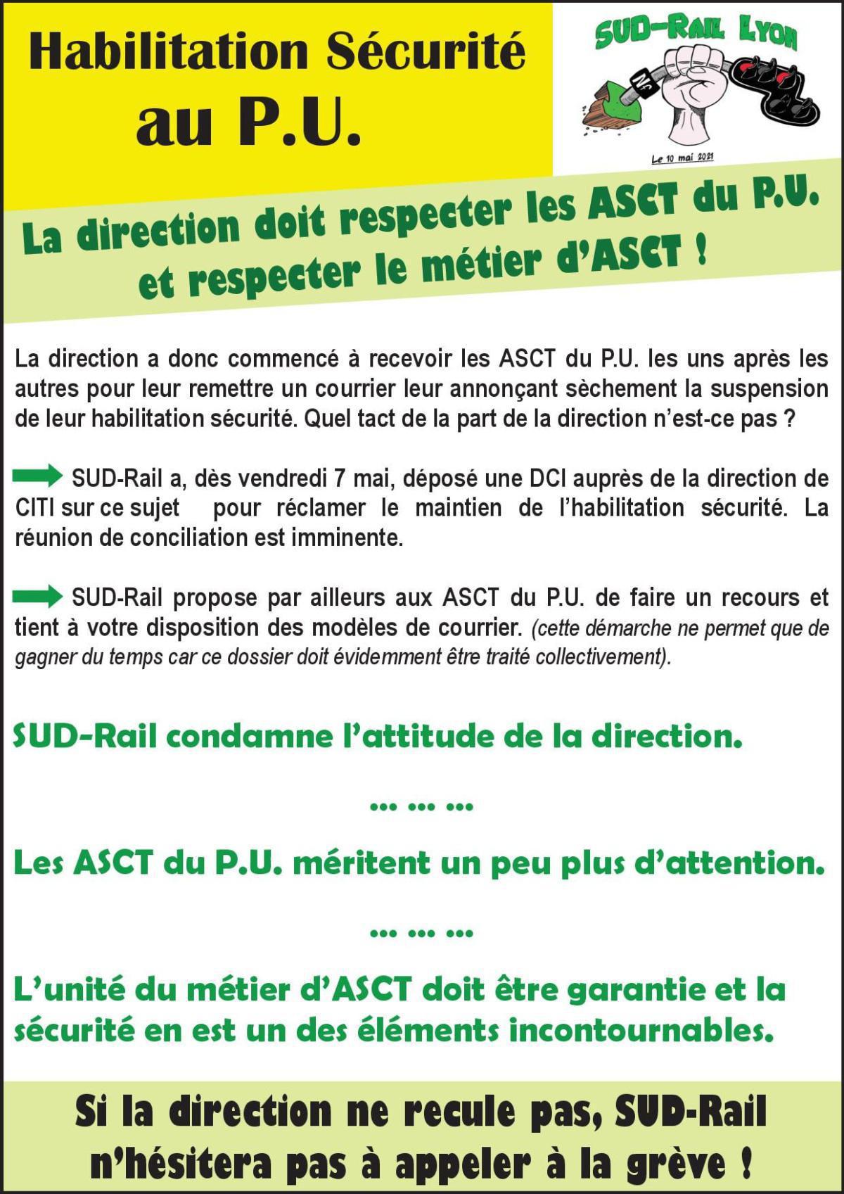 La direction doit respecter les ASCT du P.U et respecter le métier d'ASCT !