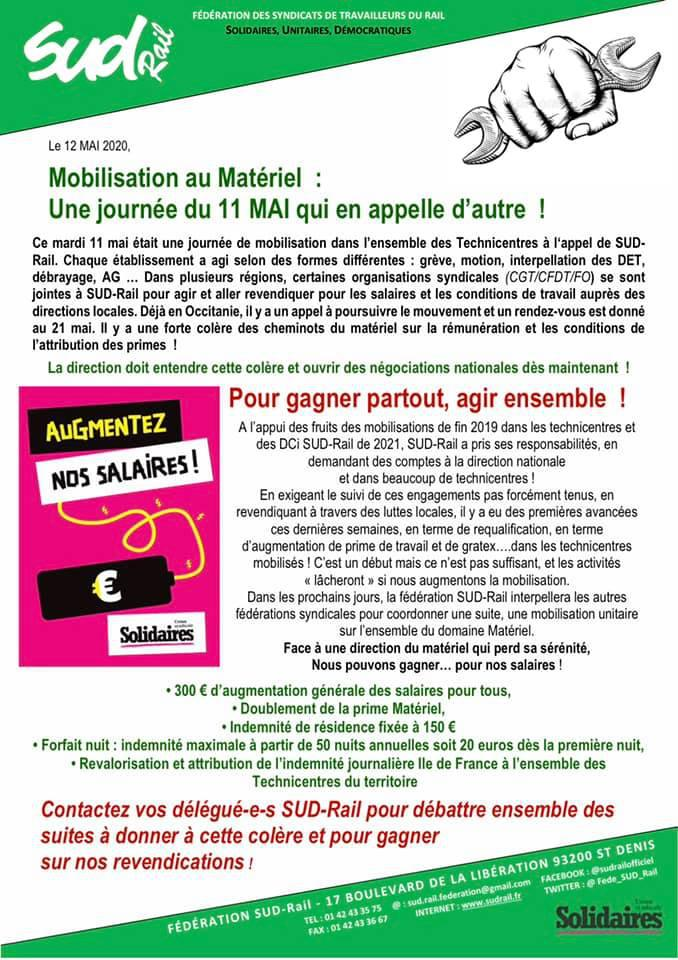 Mobilisation au Matériel : Une journée du 11 Mai qui en appelle d'autre !