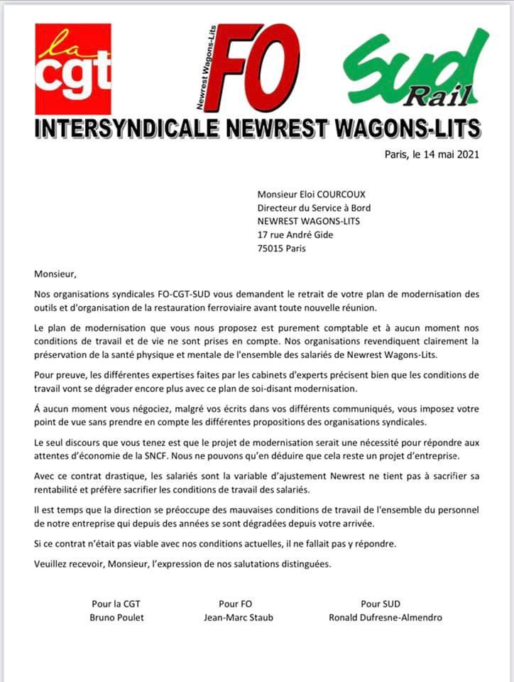 Intersyndicale Newrest Wagons-Lits