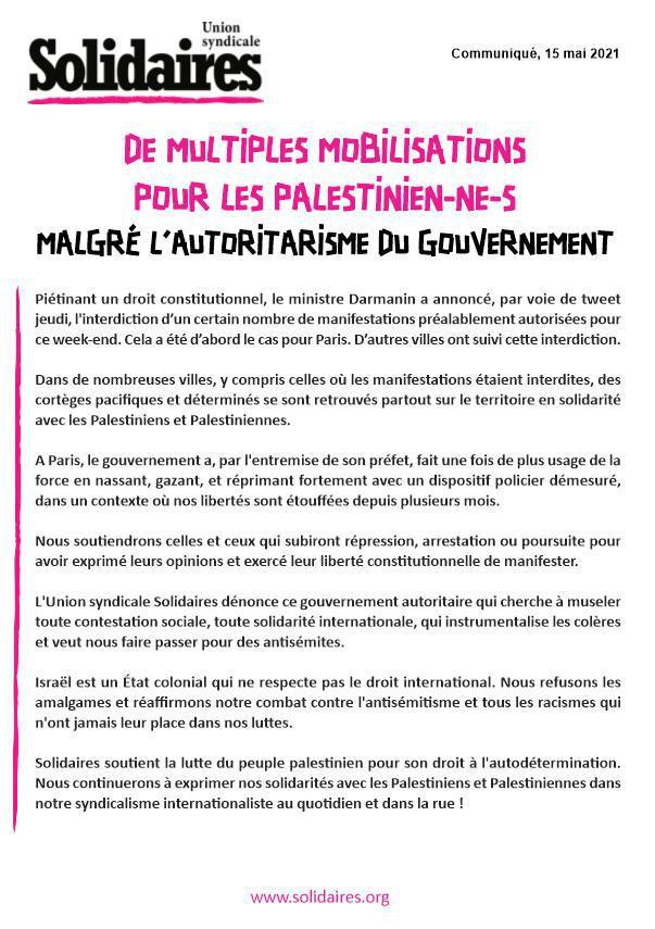 De multiples mobilisations pour les Palestinien-ne-s malgré l'autoritarisme du gouvernement