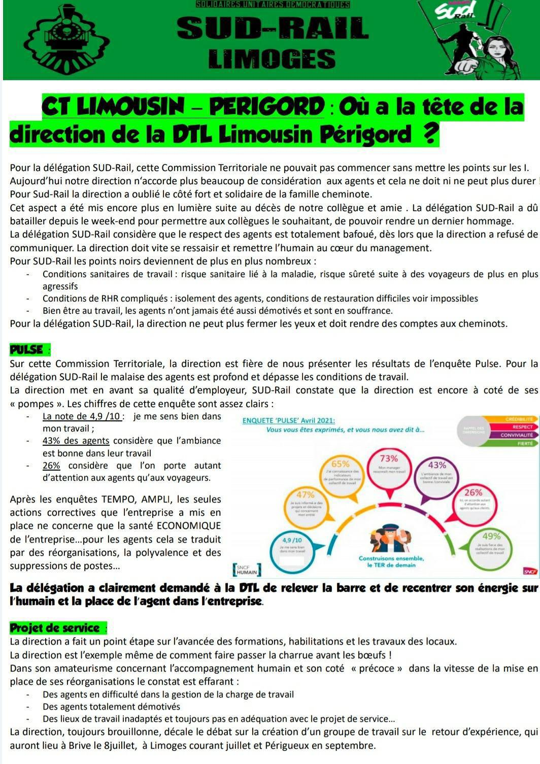 Où a la tête de la direction de la DTL Limousin Périgord ?