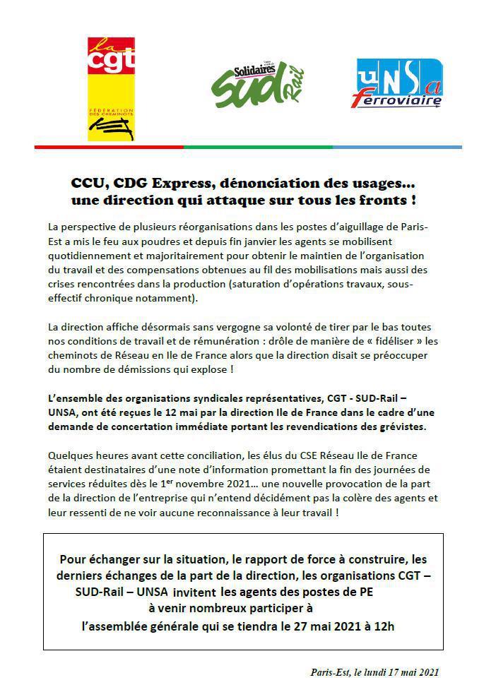 CCU, CDG Express, dénonciation des usages...