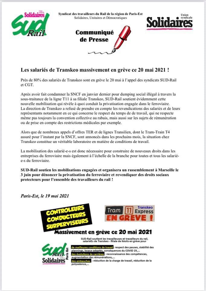 Grève chez Transkéo