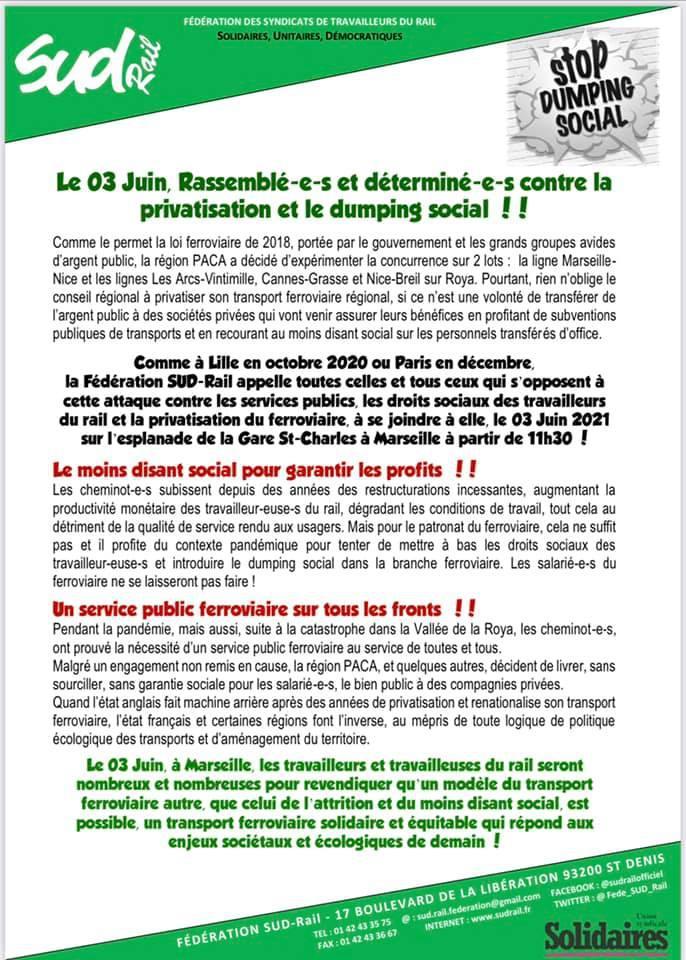 Le 3 juin, rassemblé(es) et déterminé(es) contre la privatisation et le dumping social !