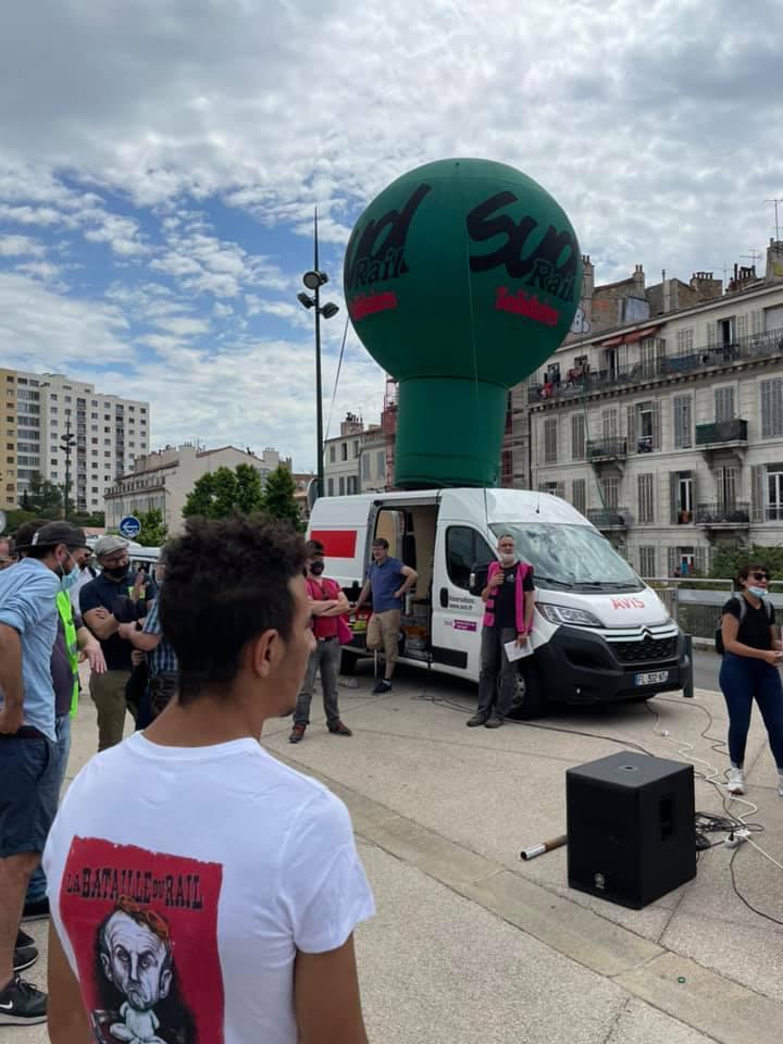 Marseille - SUD Rail mobilisé pour le défense du service public ferroviaire, contre la privatisation et le dumping social !