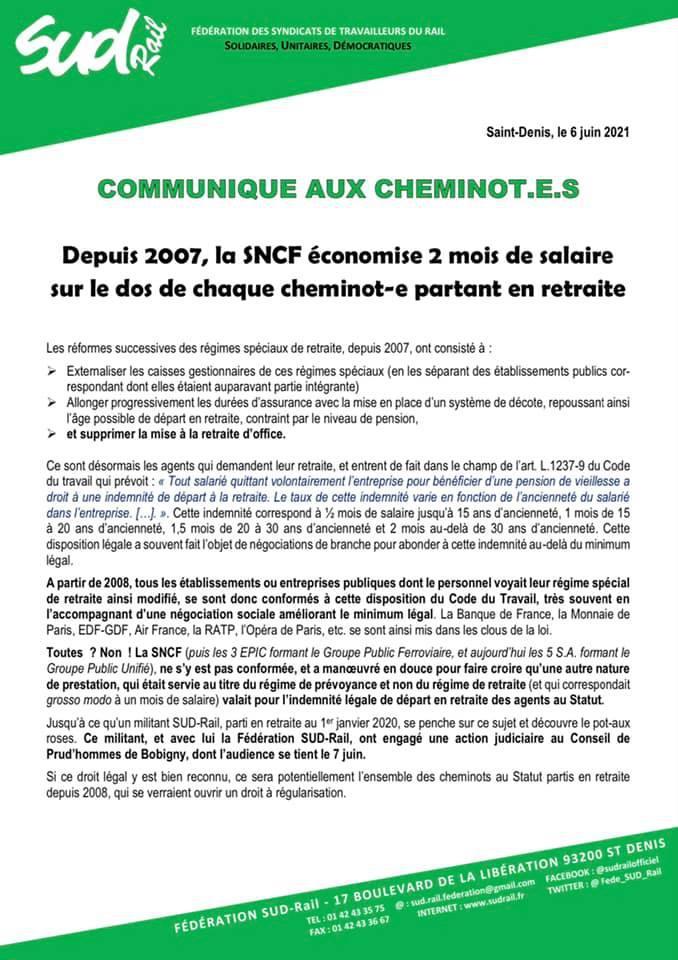 Depuis 2007, la SNCF économise 2 mois de salaire sur le dos de chaque cheminot-e partant en retraite