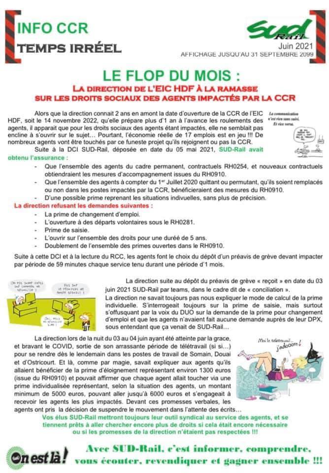 La direction de l'EIC HdF à la ramasse sur les droits sociaux des agents impactés par la CCR