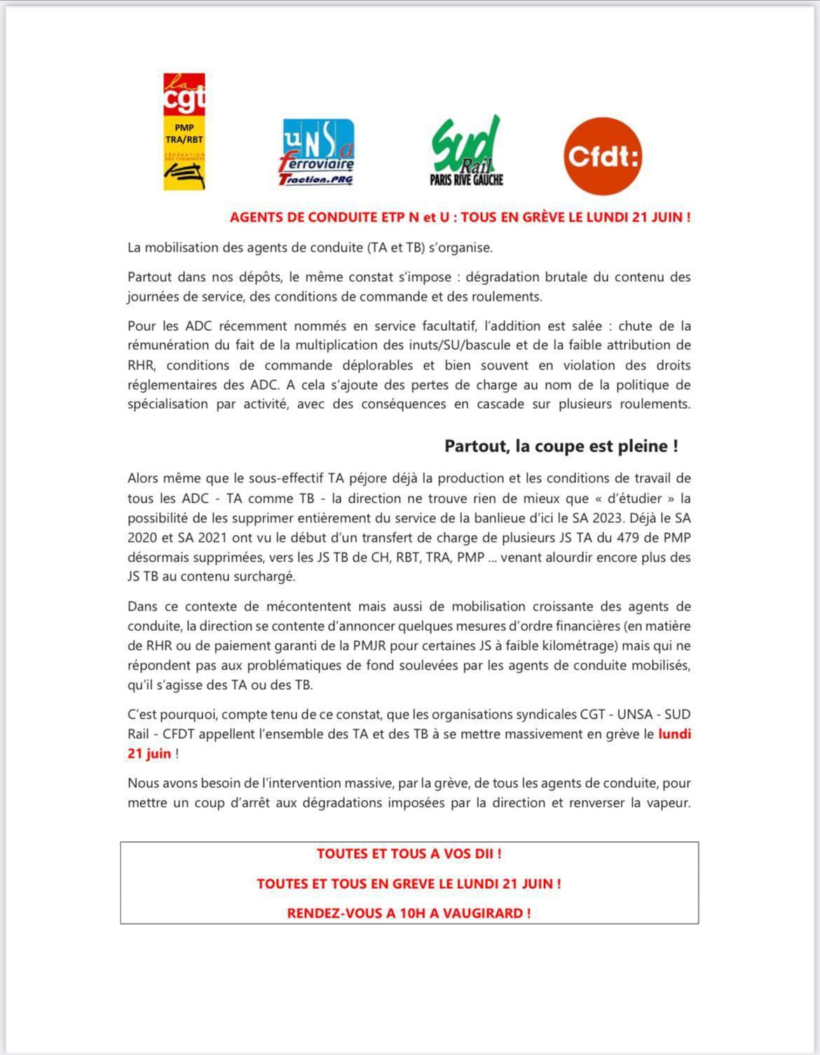 Les conducteurs de trains d'Île de France seront massivement en grève le Lundi 21 juin