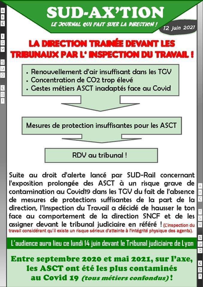 Filtres TGV : La direction trainée devant les tribunaux par l'inspection du travail !