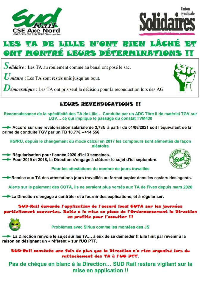 Les TA de Lille n'ont rien lâché et ont montré leurs déterminations !