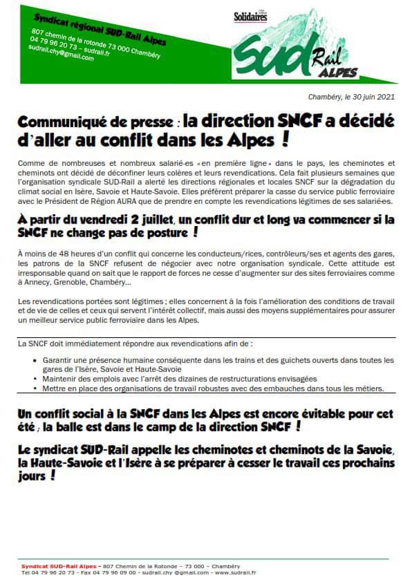 La direction SNCF a décidé d'aller au conflit dans les Alpes !