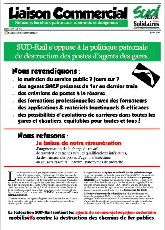 SUD-Rail s'oppose à la politique patronale de destruction des postes d'agents des gares !