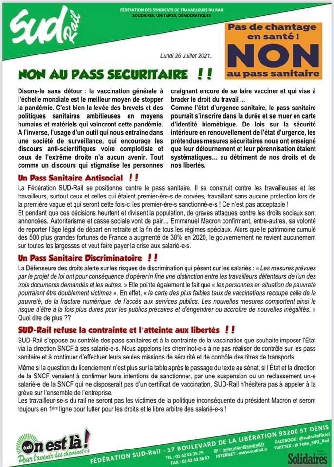 NON au Pass Sécuritaire !!